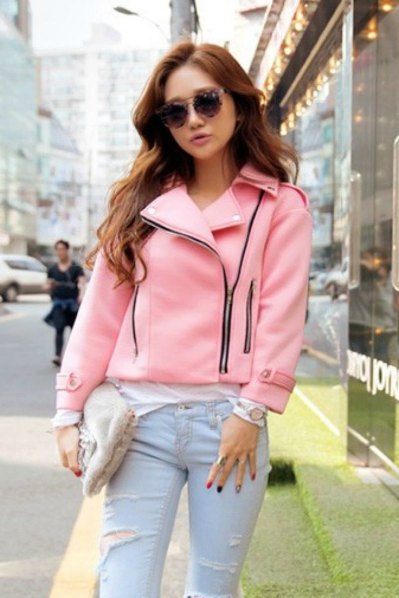 Jaket Wanita Korea Pink Korean Short Coat