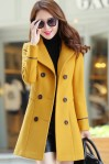 LONG COAT WANITA KOREA – Yellow Trendy Coat (JYY439-6262Yellow)