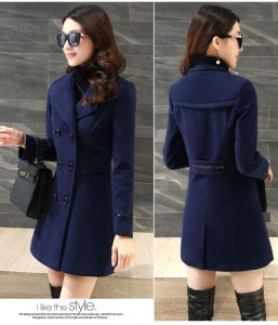 COAT WANITA KOREA – Navy Trendy Coat (JYB331735Navy)