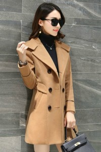 COAT WANITA KOREA – LightTan Trendy Coat (JYB331735LightTan)