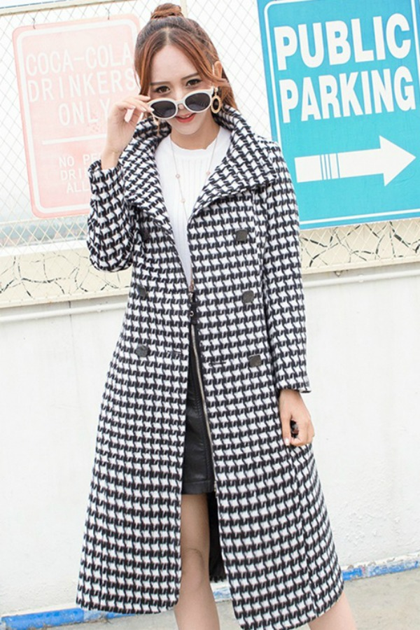 WOOLEN COAT HOUNDSTOOTH WANITA - LONG COAT WANITA KOREA STYLE