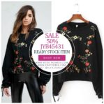SWEATER RAJUT IMPORT BIG SIZE – Black Embroidered Sweater (JYB45431Black)