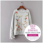 SWEATER RAJUT IMPORT BIG SIZE – Gray Embroidered Sweater (JYB45431Gray)